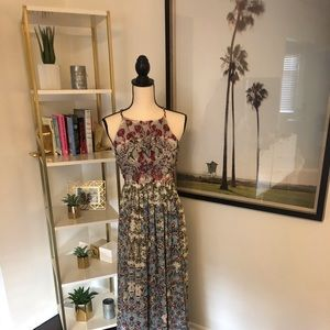 Anthropologie Beaded Floral Halter Maxi